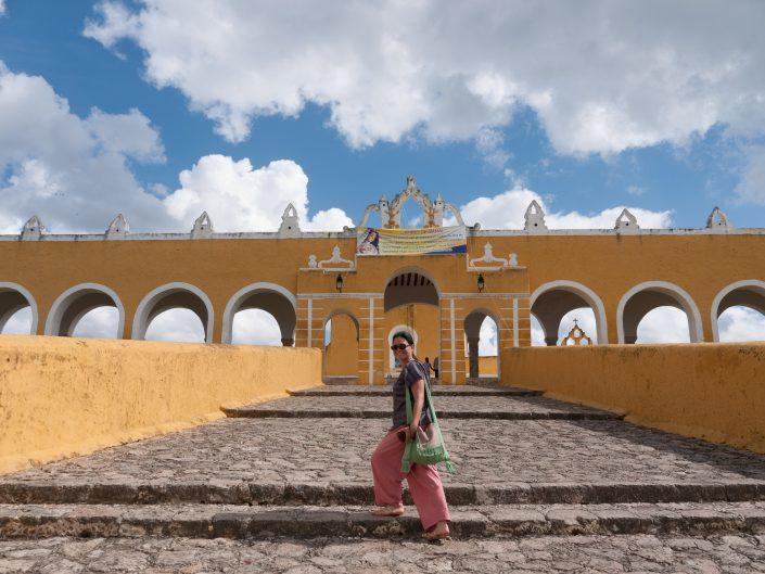 Chloe in front of San Antonio DePadua, Izamal