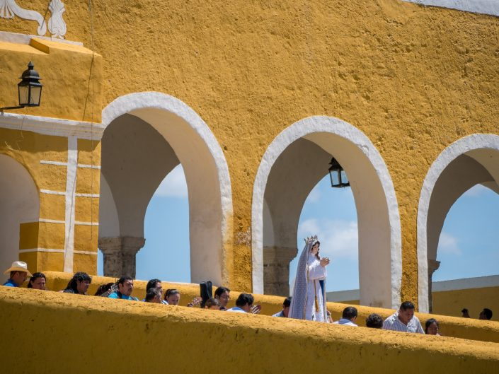 Procession coming out of San Antonio De Padua, Izamal