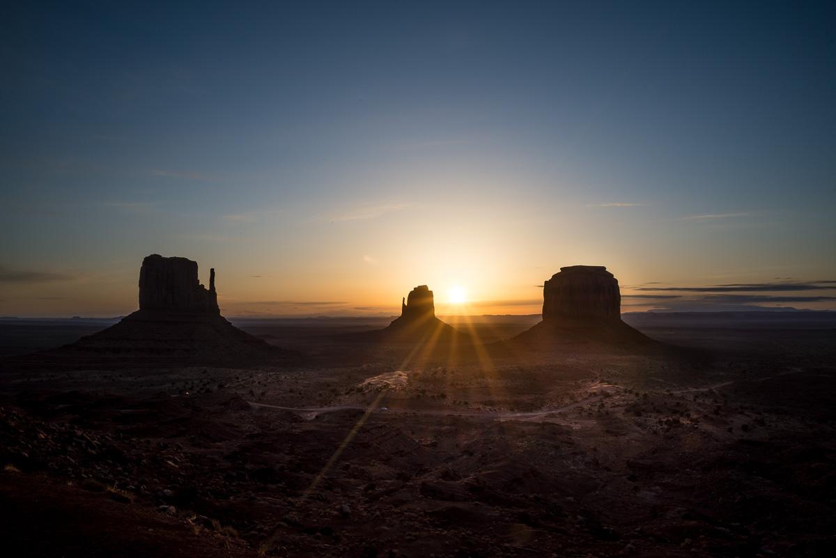 Sunrise behind the Three Mittens