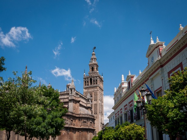 Sevilla,Plaza Triunfo, Giralda and Cathedral