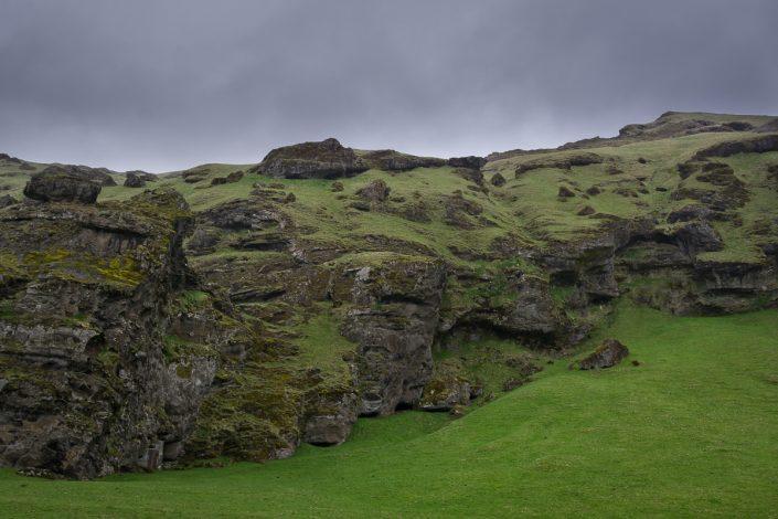 Iceland, green mountain