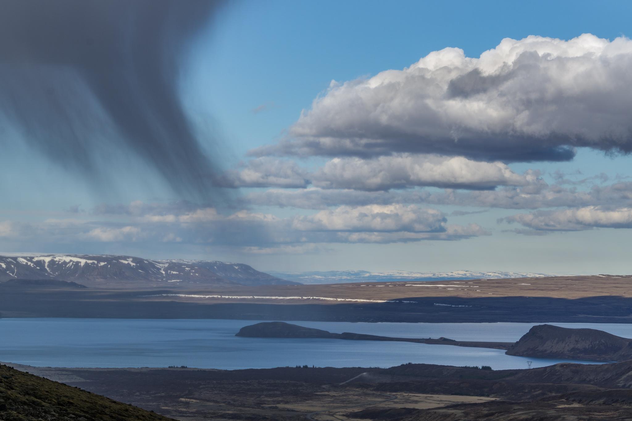 Virga phenomenon above Thingvellir. Iceland