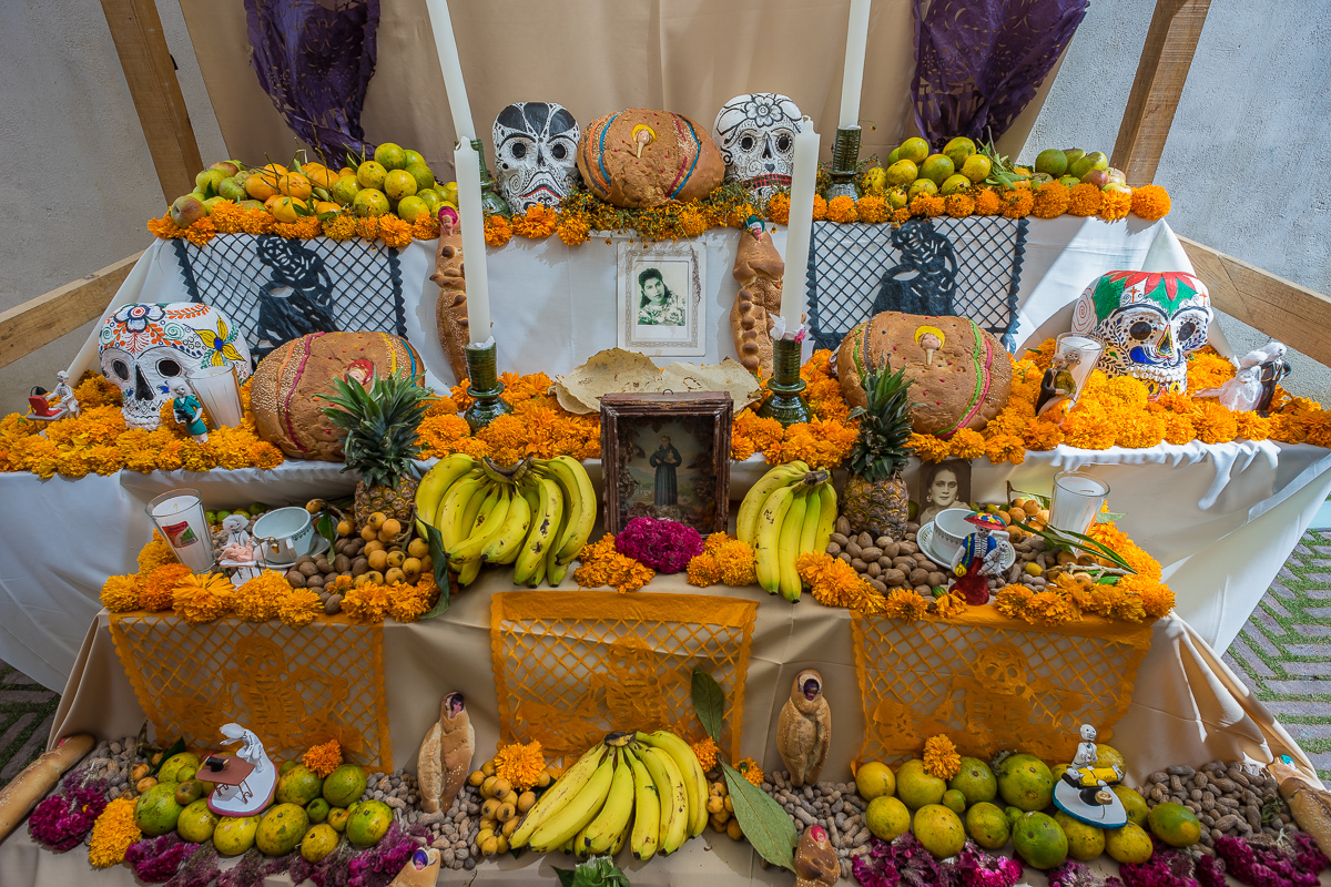 Dia de Muertos, offerings on altar