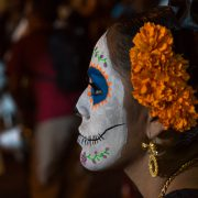 Girl painted as Calavera, Dia de Muertos, Oaxaca