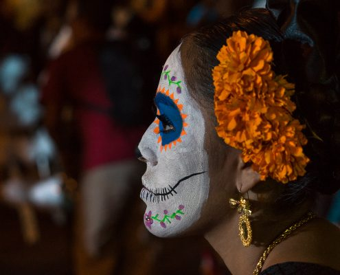 Girl painted as Calavera, Dia de Muertos, Oaxaca