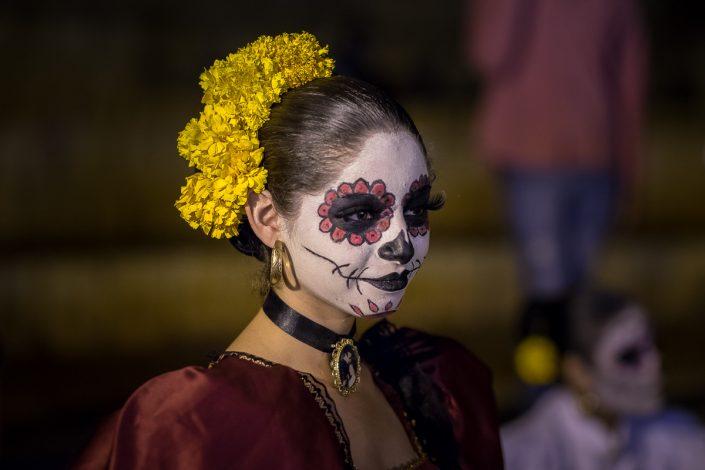 Girl painted as Calavera