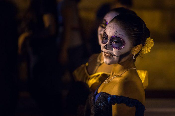 Girls painted as Calavera, Dia de muertos, Oaxaca